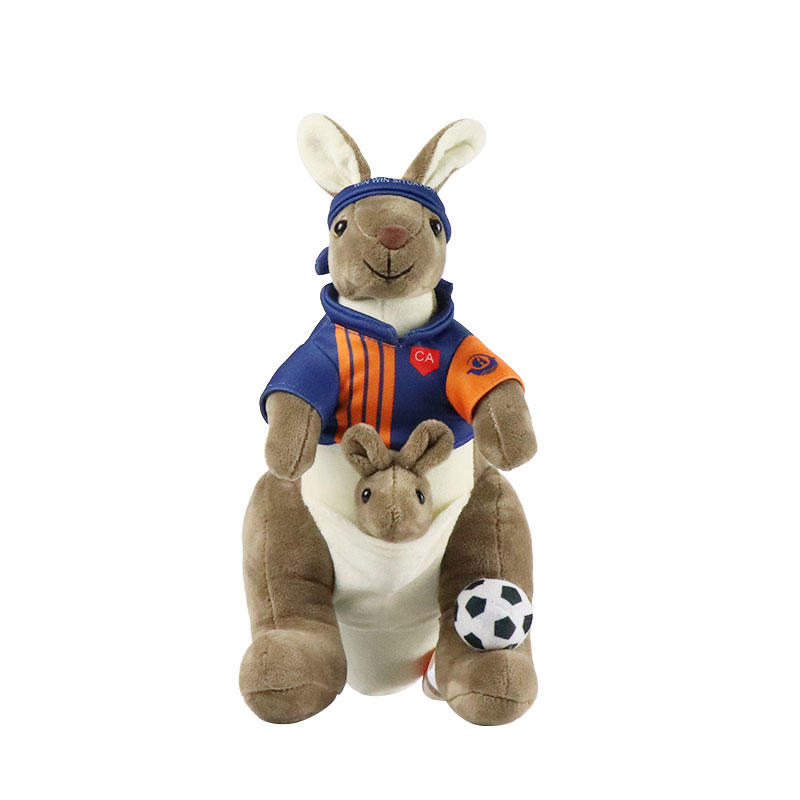 Soft Custom Cartoon Kangaroo Plush Toy With Hoodie Wholesale Supply
