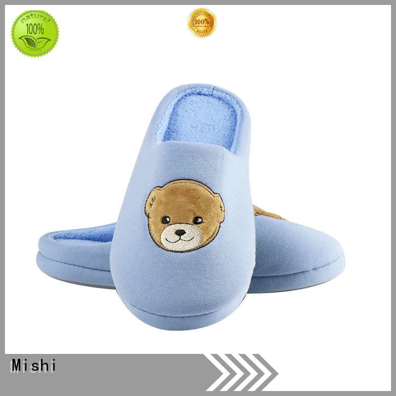 Mishi soft plush slippers with logo for home