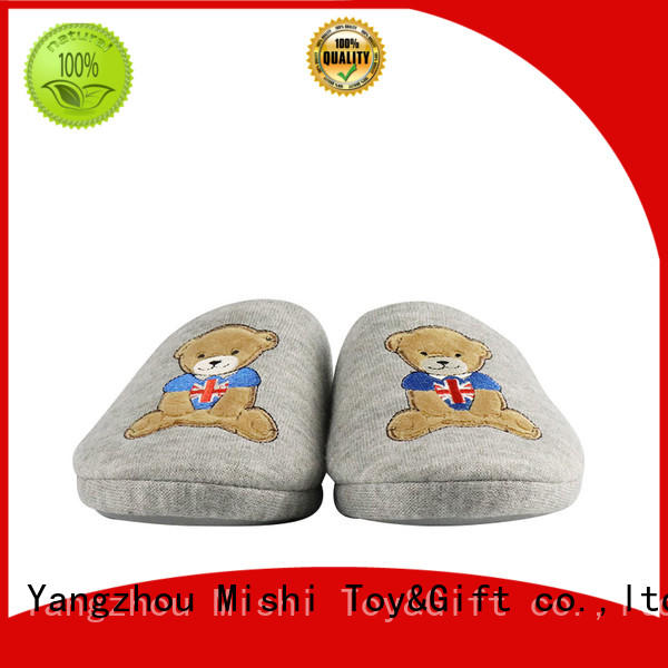 Mishi superior quality best plush slippers with printing logo for gifts