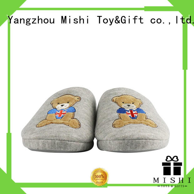 superior quality soft plush slippers with printing logo for home