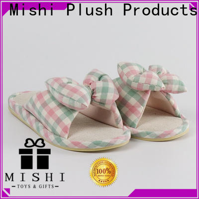 Mishi plush slipper with printing logo for sale