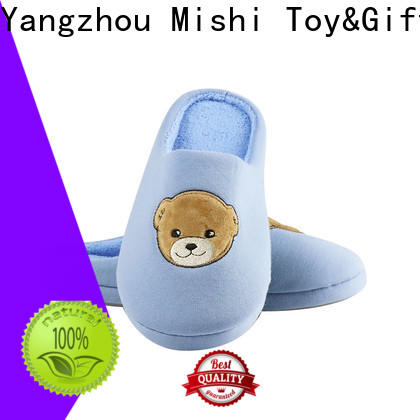 Mishi wholesale soft plush slippers with printing logo for gifts