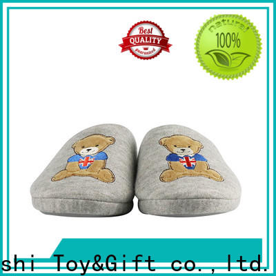 Mishi latest plush slipper with printing logo for sale
