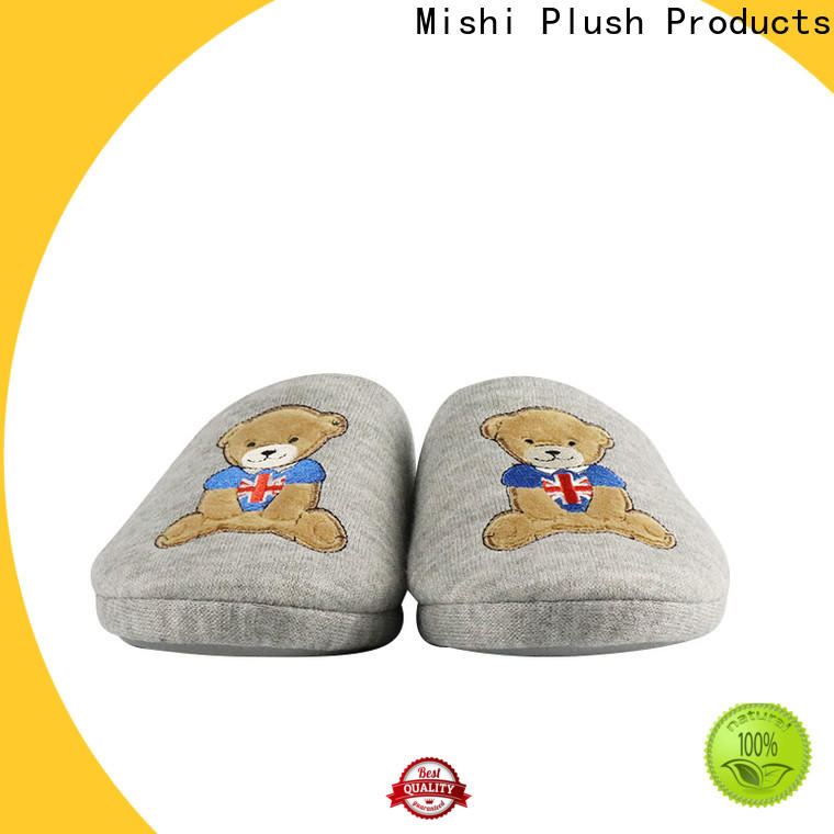 Mishi fast delivery soft plush slippers with logo for home