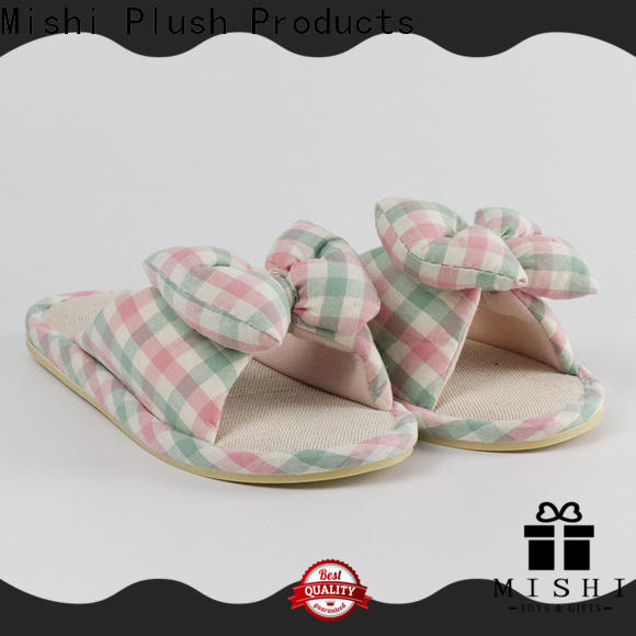 Mishi fast delivery plush indoor slippers with printing logo for business