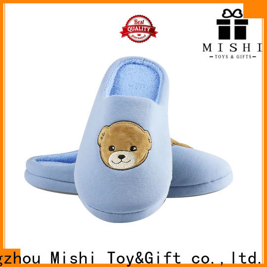 Mishi superior quality plush indoor slippers with printing logo for sale