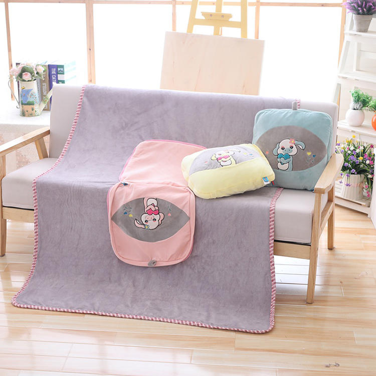 Creative pillow plush  poly thick heavy fleece blanket china factory