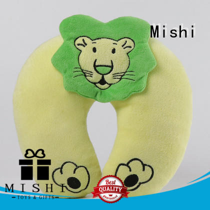 Mishi plush neck pillow with logo for sleeping