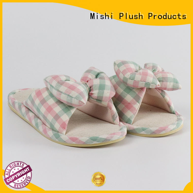 Mishi plush indoor slippers with logo for sale