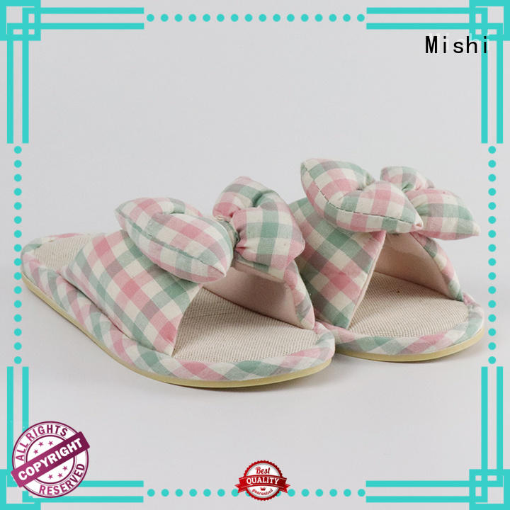 Mishi fast delivery plush indoor slippers with printing logo for sale